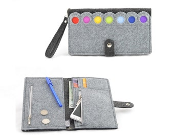 Grey Felt Wallet with a colorful dots, anthracite, modern, eco, Rainbow, XXXL size
