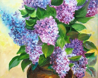 Lilac flowers painting Original oil on canvas Purple Classic Still Life Floral art canvas Gift for woman