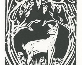 Dear woodcut linocut print