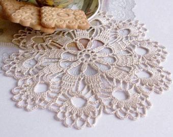 Small cream crochet doily Hand crocheted cotton lace doilies Cream crochet doilies Doily lace crochet 145