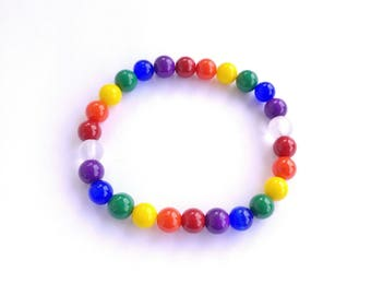 Rainbow Glass Beaded Elastic Bracelet
