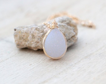 White Druzy Bezel Wrapped Necklace in Gold Fill, Teardrop Druzy Quartz, Gemstone  , Crystal Necklace - Cottontail