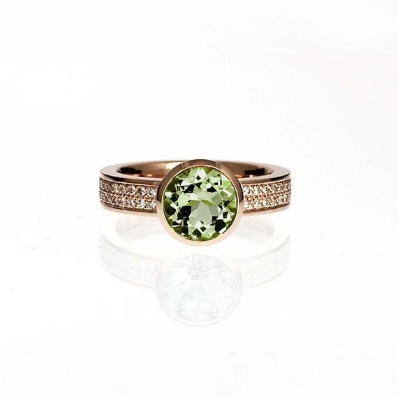 Peridot Engagement Ring Rose Gold Ring Diamond Engagement