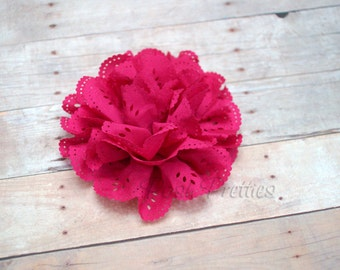 Hot Pink Eyelet Lace Flower Hair Clip - Lace Flower -