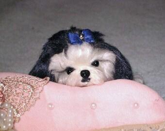 Custom Pet Portrait / Needle Felted Dog / Custom Miniature Sculpture of your pet Cute / poseable / example Shih Tzu