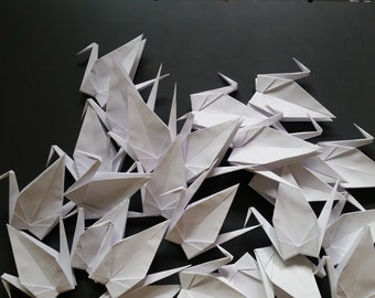 White Paper Cranes, White Origami Cranes, 100 Large White Paper Cranes, Wedding Cranes, wedding backdrops, wedding place cards
