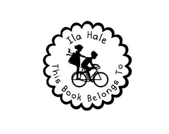 Silhouette Kids on bicycle This book belongs to custom rubber stamp bookplate bike