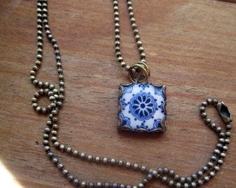 Mexican Talavera Tile design pendant and chain, Blue and white, Travel souvenir, Mexican necklace, Mexican Folk Art, ceramic tile design