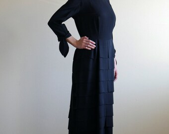 Black Square Neck Tiered Skirt Dress