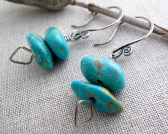 Kingman Mine Arizona Turquoise & Sterling Silver Drop Earrings boho earrings