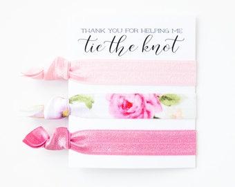 Hair Tie Bridesmaid Gift   Pink Floral Hair Tie Set, Vintage Floral Print Hair Ties, Rose Pink Floral Hair Ties, Bridesmaid Gift Hair Ties