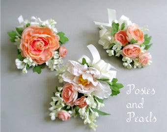 Choice of Silk Flower Corsages, Pink, Peach, Ivory, and Green, with Mini Peony, Open Roses, Ranunculus, and Lilacs
