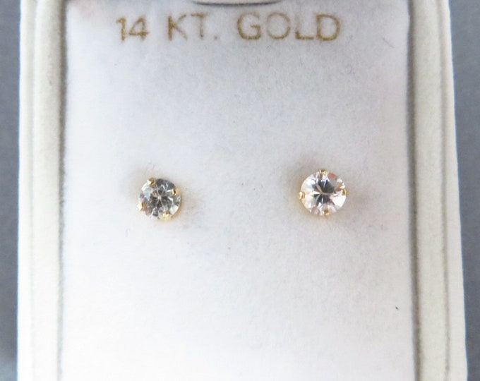 14K Gold Crystal Earrings - Vintage Yellow Gold 4mm Pierced Studs, New Old Stock