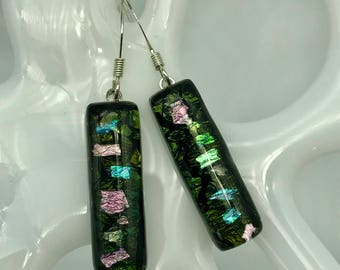 Dichroic Black Multi-color Glass Earrings, Fused Glass Earrings, Shimmery Colored Glass, Rectangle Glass Earrings