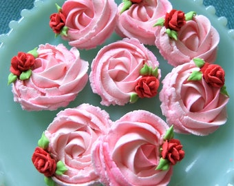 Royal Icing Rosettes Soft Pink with Tiny Tea Roses CupCake Toppers Cakes 6 Pieces ReAdY To ShIp !