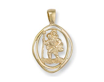 9ct Yellow Gold Cut Out Oval St Christopher Medallion Charm Pendant Hallmarked