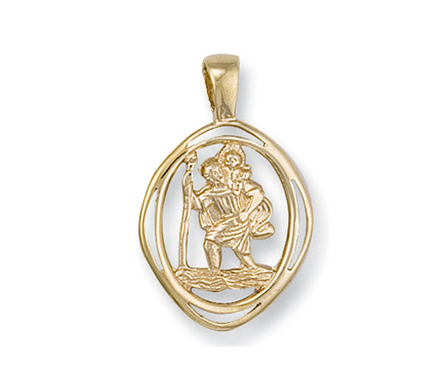 9ct Yellow Gold Oval Saint Christopher XnDxmq