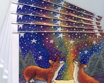 6 x Corgi dog starry night Christmas greeting cards holiday night time eve starlight snowy landscape Susan Alison watercolor painting sky