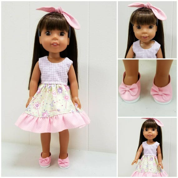 Complete Wellie Wisher Outfit. Dress, Headband and Shoes.