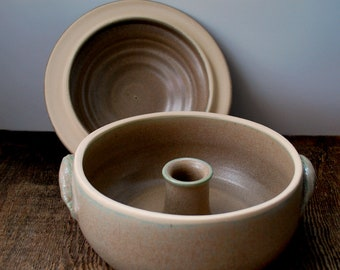 Tan and Aqua Ceramic Vegetable Steamer Wheel Thrown Stoneware Pottery Ready to Ship