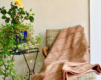 Wool Blanket Native American Inspired Design Southwestern Style Lightweight Throw in Beige Taupe Dusty Pink