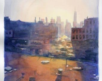 7x9 Long Island City Rooftop - Original Watercolor Painting