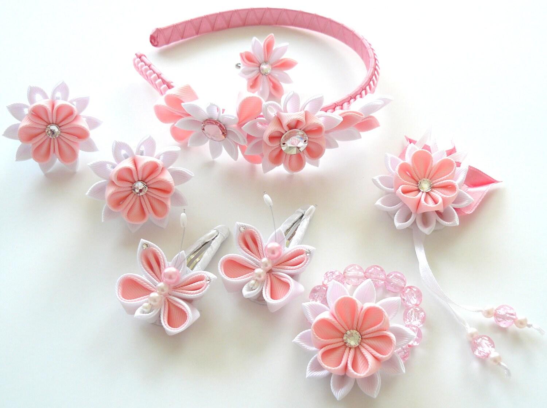 Flores de tela Kanzashi. Set de 8 piezas. Rosa y blanco.