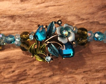 Bracelet - Aqua & Green Czech Glass Beads, Blue and Aqua Swarovski Crystals, Antique Brass Findings