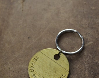 Authentic Vintage Detroit Recreation Department Tag Keychain - Upcycle - Michigan Keychain - 20% Of Sales Donated to Animal Rescue Groups