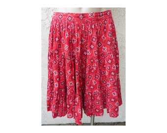 Vintage 1960's Rockmount Ranch Wear red gingham print cotton Western skirt square dance rodeo cowgirl