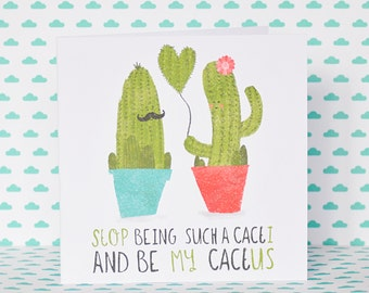 Funny cactus love valentines greeting card