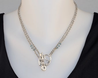 Lock & Key Double Strand Front Toggle Necklace, pewter lock key toggle, sapphire blue crystal beads, stainless steel chain, long or short