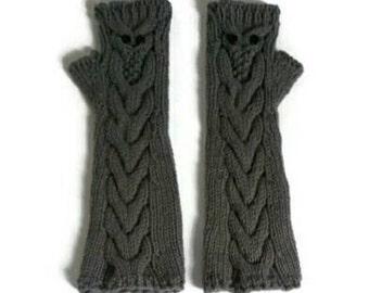 knitted owl fingerless gloves -long owl fingerless mittens - owl fingerless gloves - owl arm warmers - grey gloves - owl wrist warmers