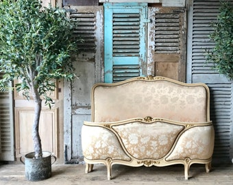 Antique French demi corbeille double bed frame