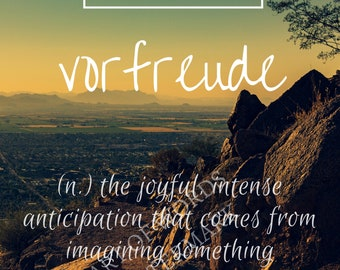 "Home Decor ""Vorfreude"" Printable Typography Inspirational Wall Decor DIY Digital Poster print"