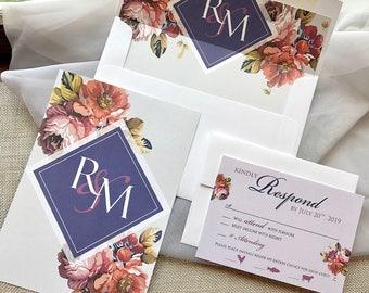 Wedding Monogram, Vintage Floral Wedding Invitation, Fall Wedding Invitations, Autumn Wedding Invitations, Envelope Liner, Invitation Set