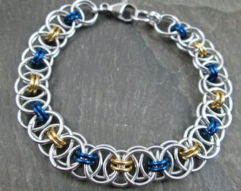 Chainmaille Bracelet - Blue and Gold - Helm Weave - Link Bracelet - Chainmaille Jewelry