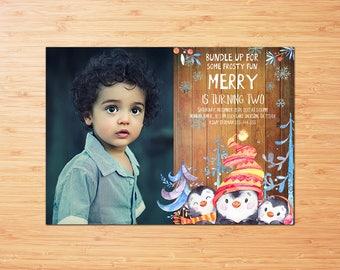 Penguin Birthday Invitation with Photo, Boy Winter Birthday Invitation, Winter ONEderland Invitations, Kids Birthday Invie Digital Printable