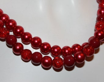 Red Pearl Jewelry, Red Pearl Necklace, Red Beaded Jewelry, Red Beaded Necklace, pearl jewelry red, pearl necklace red, red jewelry, red