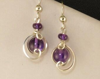 Purple Amethyst Sterling Silver Drop Earrings, Real Amethyst Gemstone Wire Wrapped Earrings, Argentium Silver Earrings