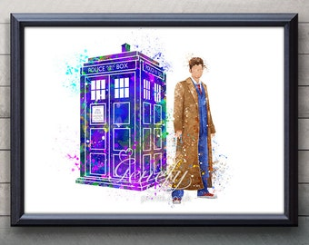 David Tennant Doctor Who 10th Doctor & Tardis Watercolor Art Poster Print - Wall Decor - Watercolor Painting Home Decor  - Nursery Decor [1]
