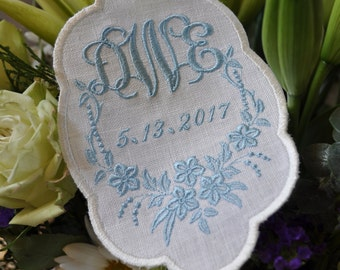 Wedding Dress Label, wedding gown patch, Something Blue, Monogram Wedding Dress label, wedding shower gift