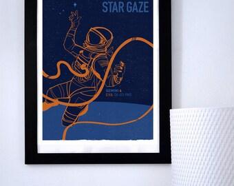LARGE Star Gaze Space Walk Gemini Astronaut, NASA art, Science Poster, Art Print, Stellar Science Series™