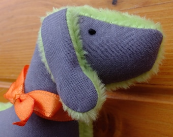 Gray Bubago Dog with Orange bow and heart and supersoft green fuzzy back
