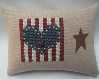 Patriotic Cross Stitch Mini Pillow  Heart And Star Shelf Pillow