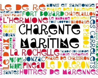 "Postcard ""Words in the Charente-Maritime"" (charentais places)"