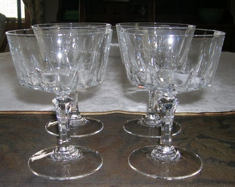 4 Vintage CRIS D'ARQUES / DURAND Crystal Champagne Tall Sherbet Glasses Versailles Pattern