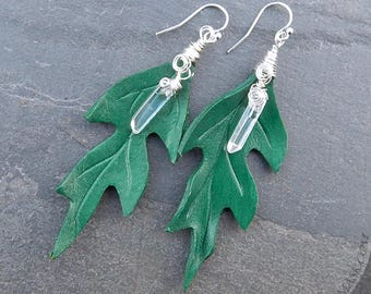 Green Oak Leather Leaf Earrings with Quartz Crystal and Sterling Silver - Forest Green Leaves, Dryad, Boho, Nature Lover, Gift for Her