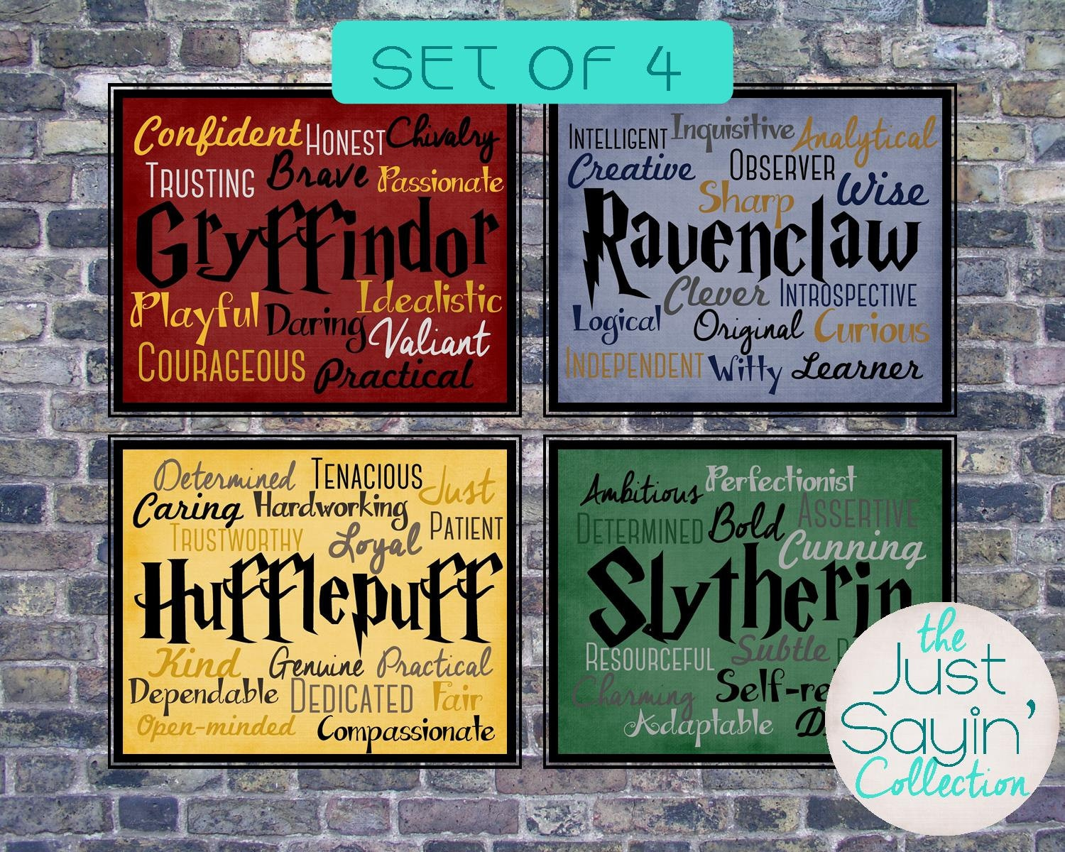 set of four harry potter hogwarts house 8x10 prints. Black Bedroom Furniture Sets. Home Design Ideas