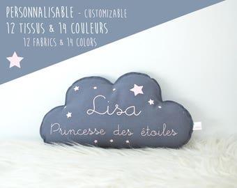 """Coussin nuage Prénom """"Princesse des étoiles """" à personnaliser - Coton biologique et oeko-tex"""